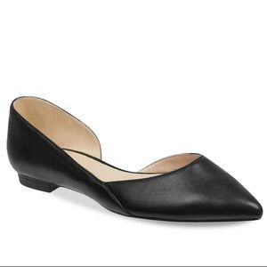 Marc Fisher Sunny Black Leather D'Orsay Flat